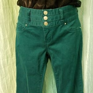 High-Waisted Green Jeans